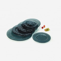 Fairway Round Glass Platters Black | WCCC